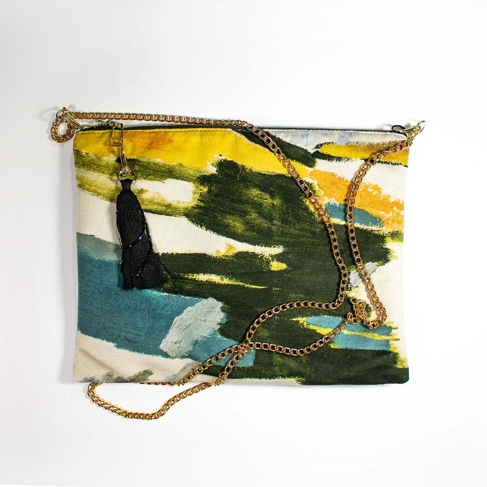 Multi Colour Lucy Jane Turpin Velvet Pouch Clutch Handbag Wonderland Wanderland Collective African Design Luxury Tassle Tassel