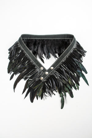 RISING SUN feather n' fringe waist belt black 'leather'