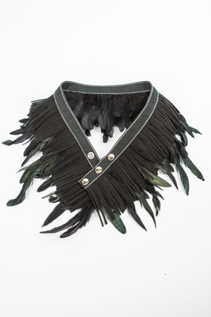 RISING SUN feather n' fringe waist belt black 'suede'