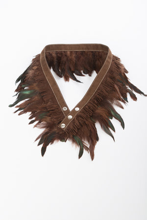 RISING SUN feather n' fringe waist belt chocolate