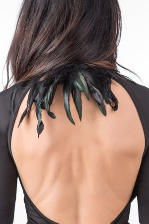 RISING SUN feather n' fringe choker back