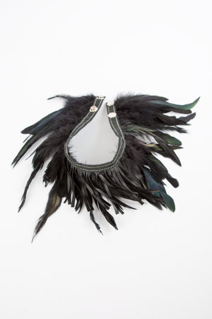 RISING SUN feather n' fringe choker black