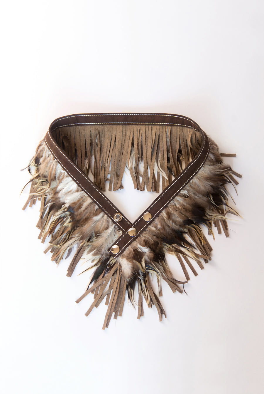 RISING SUN feather n' fringe waist belt brown/yellow