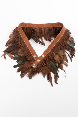 RISING SUN feather n' fringe waist belt russet