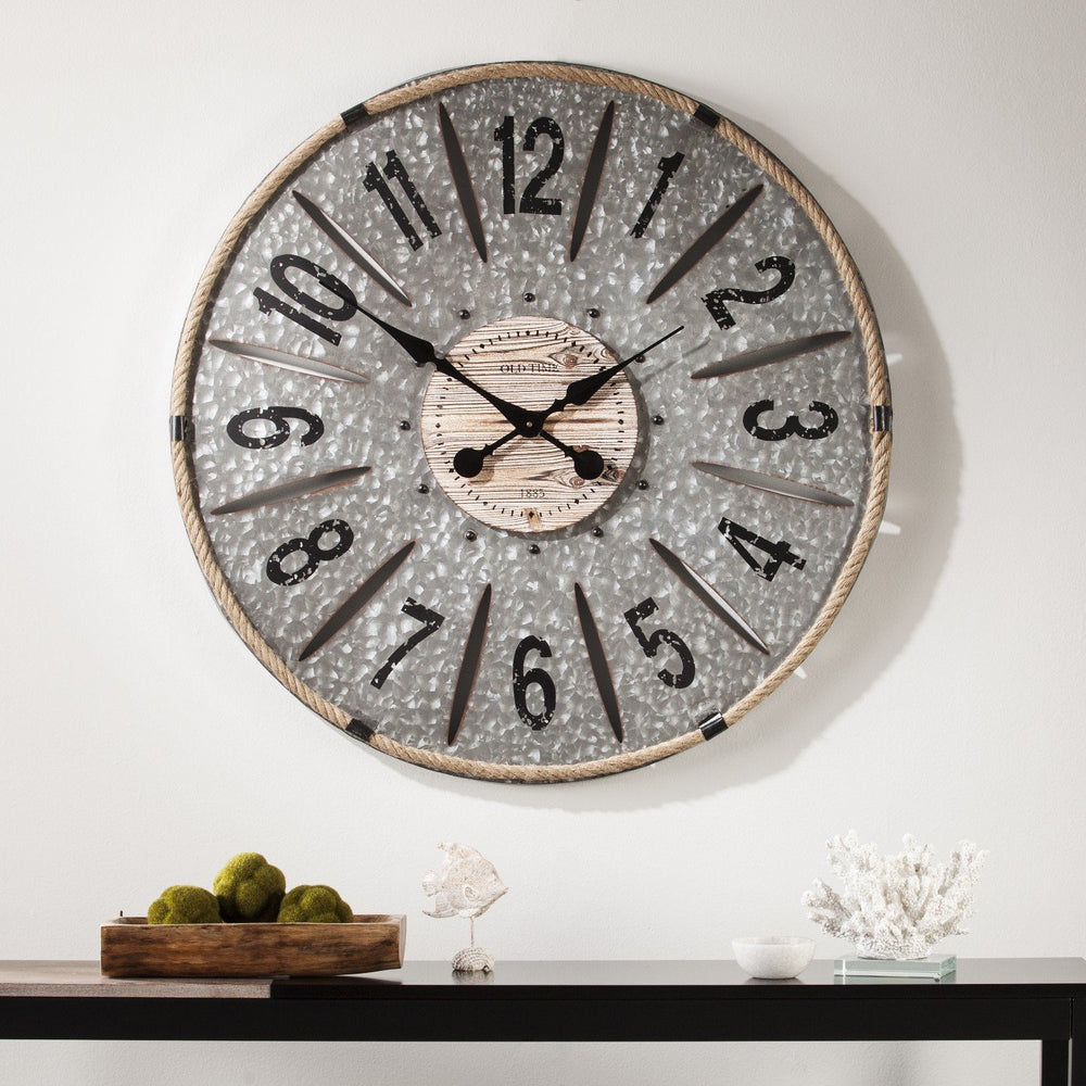 Rayonier Decorative Oversized Wall Clock – Galvanized Aluminum