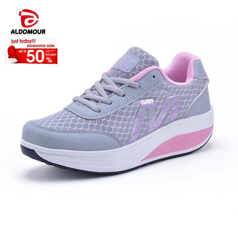 37a6add27160 ALDOMOUR Fitness Shoes Women s Sport for Women Swing Wedges platform  zapatos mujer canvas trainers tenis feminino