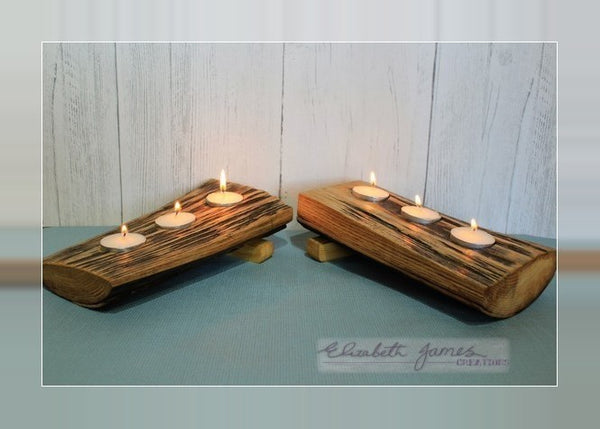 Solid Sloped Driftwood Tealight Holder