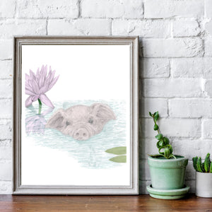 sweet 'lily' pig loves having a swim in her lily covered pond. colour
