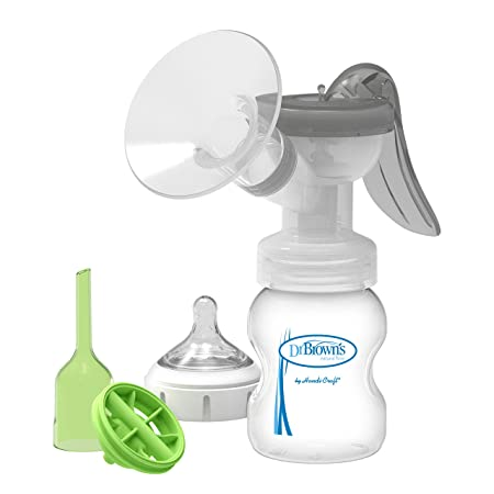 Dr Browns Natural Flow Pump Options Manual Taking Breast Milk + Softshape Funnel + Options + Bottle 150ml Anti-colic