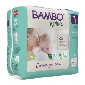 Bambo Nature Nappies 1 XS 2-4Kg X22