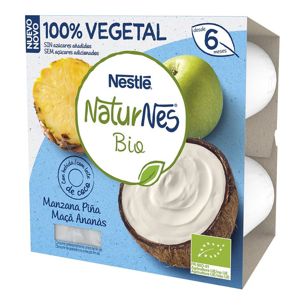 Nestle NaturNes Bio Kokosnoss Mëllech an Ananas Apple 4X90G