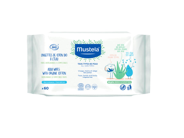 Mustela Baby Wipes Water Cleaning x60