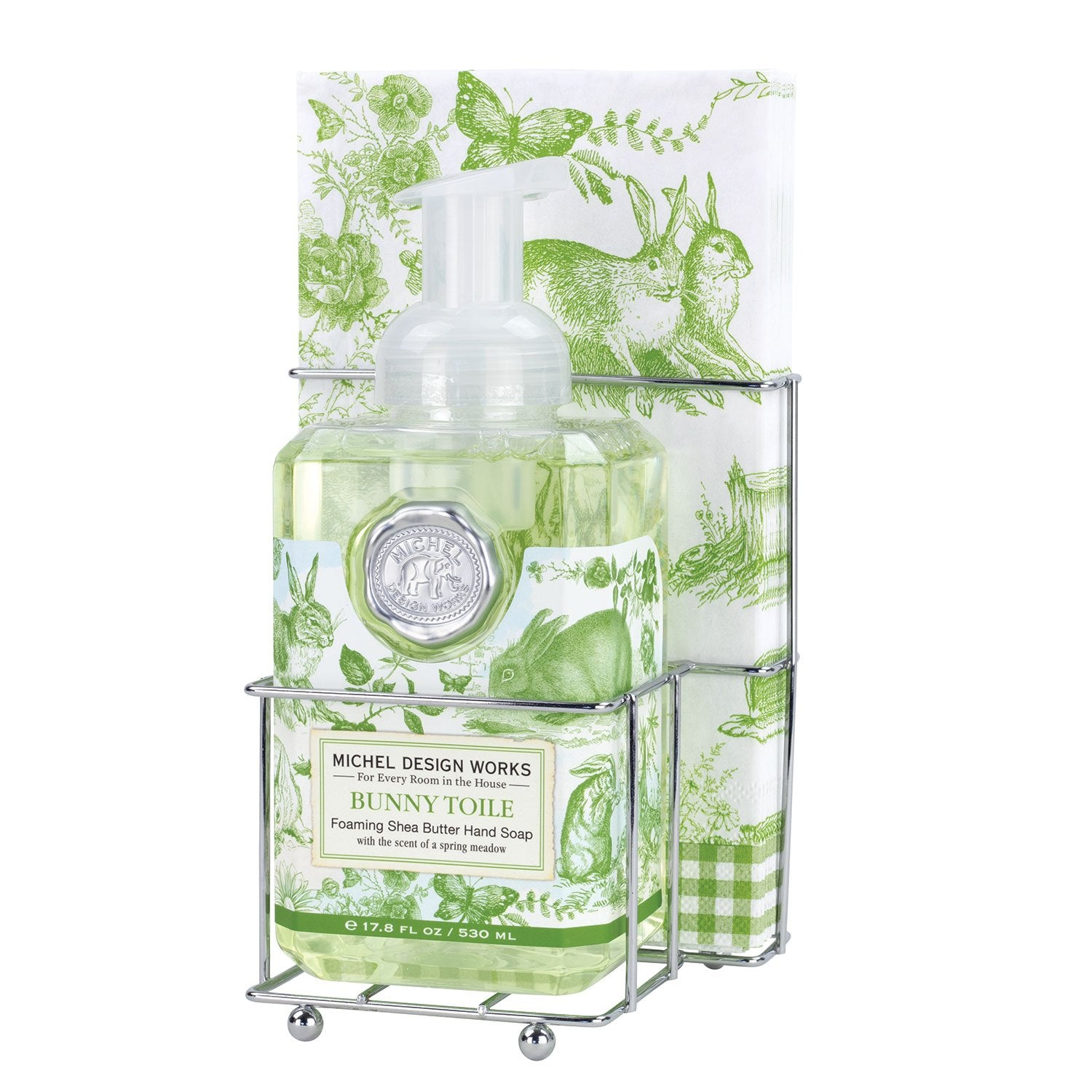 Bunny Toile Foaming Hand Soap Napkin Set