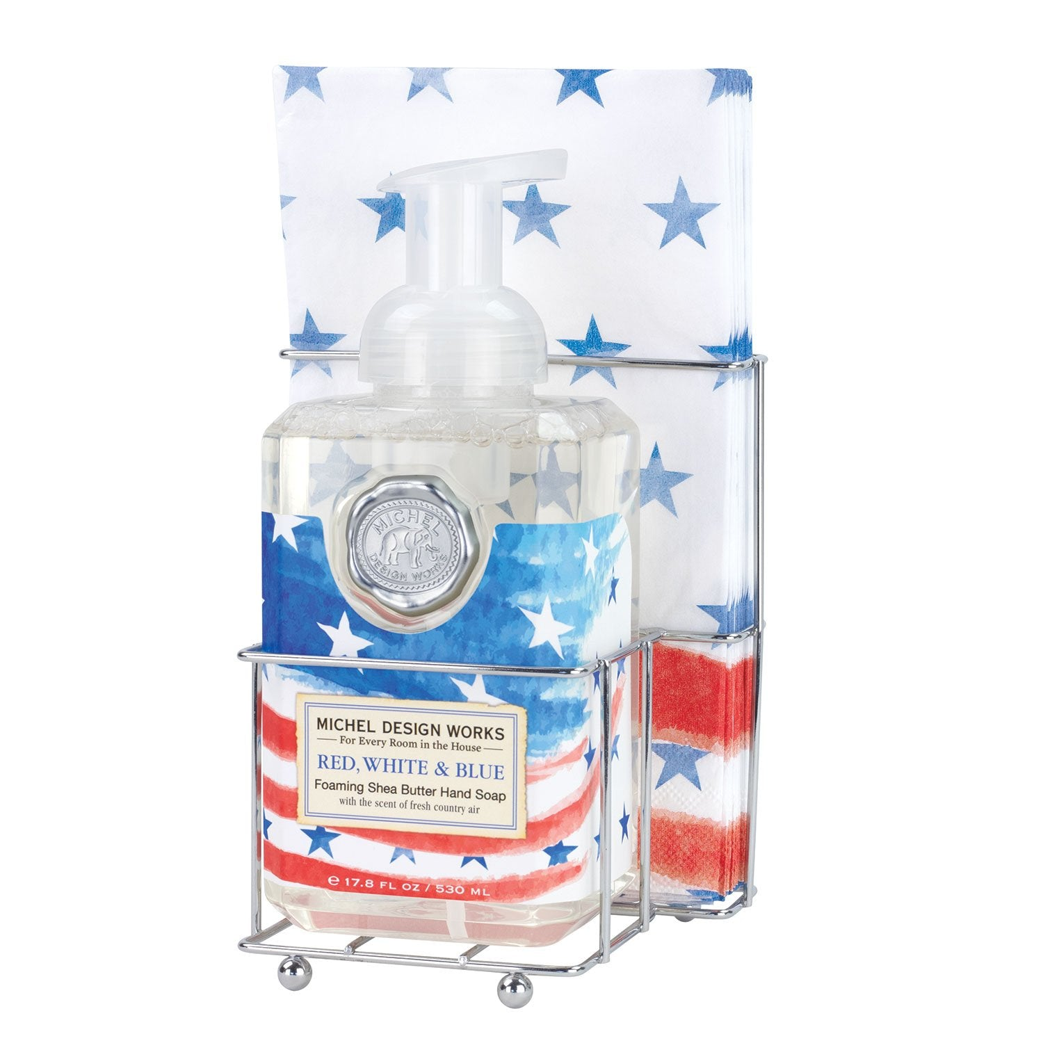 Red, White & Blue Foaming Hand Soap Napkin Set