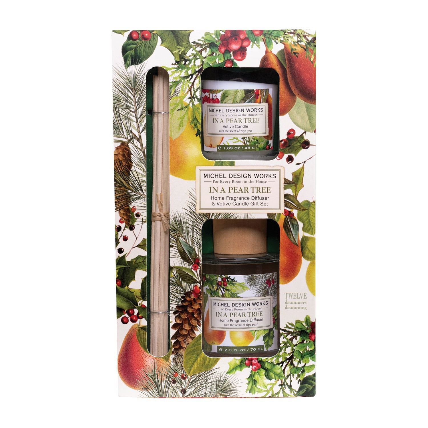 In a Pear Tree Home Fragrance Diffuser & Votive Candle Gift Set