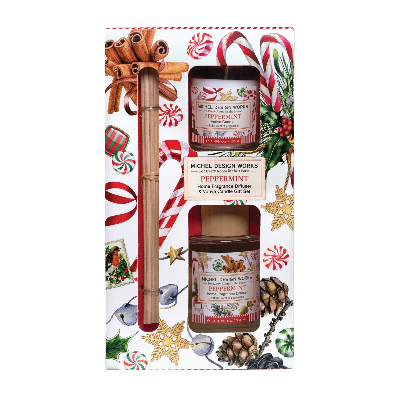 Peppermint Home Fragrance Diffuser & Votive Candle Gift Set