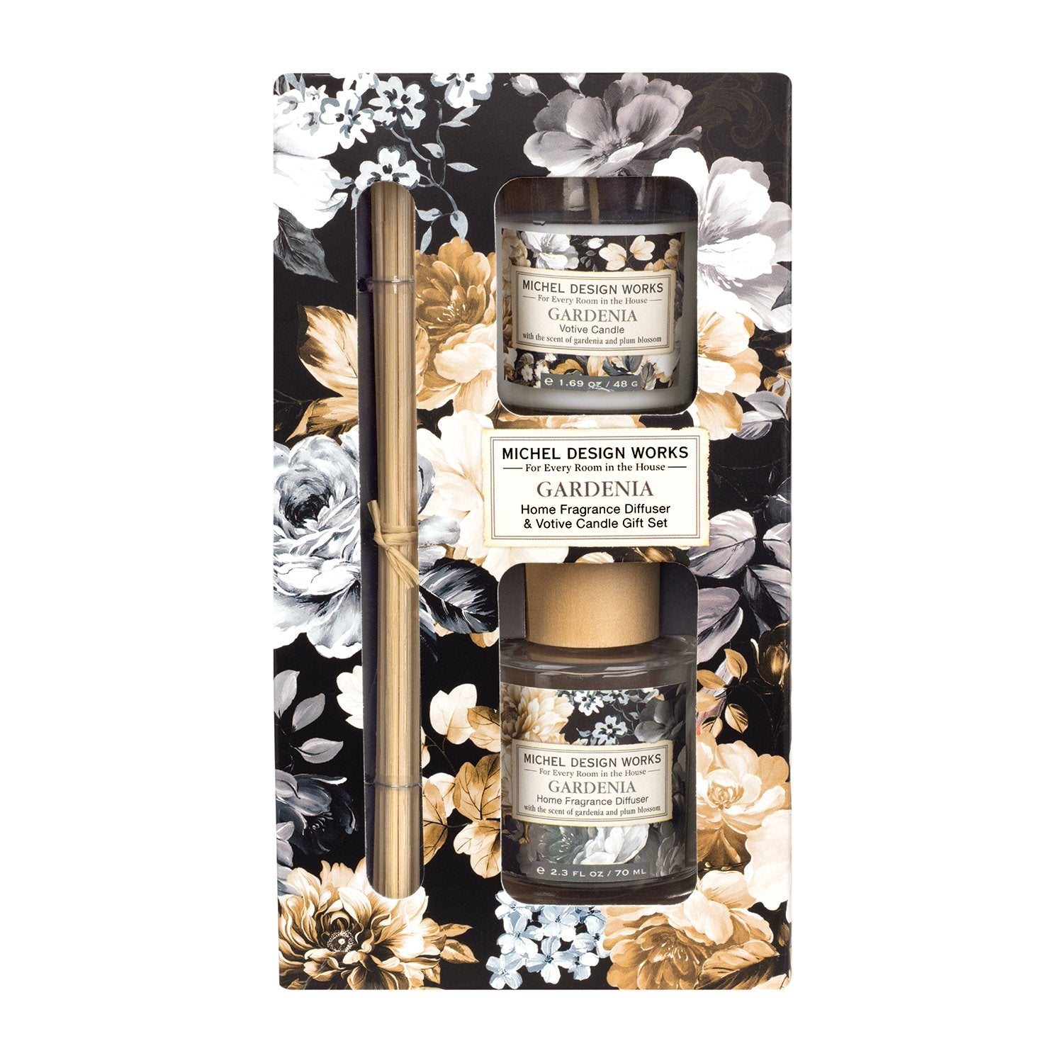 Gardenia Home Fragrance Diffuser and Votive Candle Set