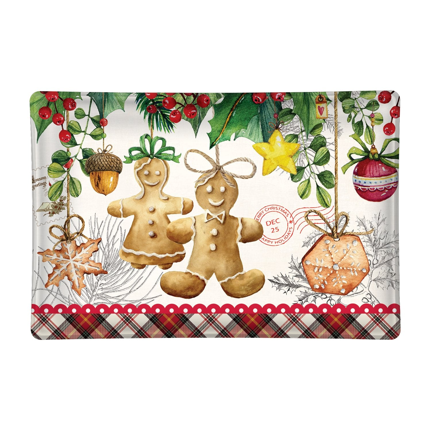 Holiday Treats Rectangular Glass Soap Dish