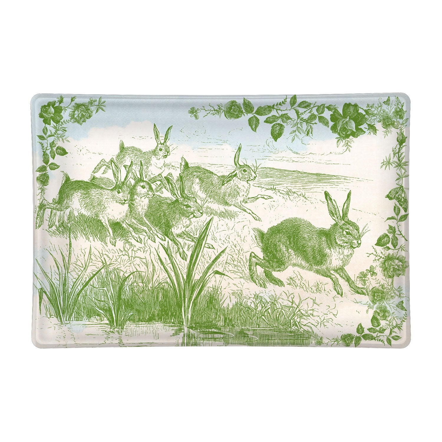 Bunny Toile Glass Soap Dish