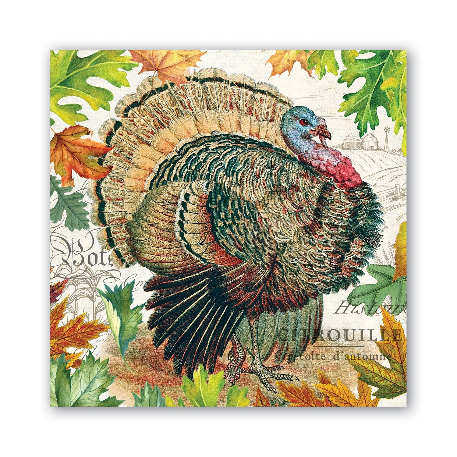 Fall Harvest Turkey Luncheon Napkins