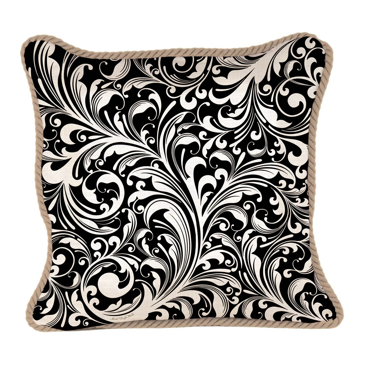 Black Florentine Square Pillow