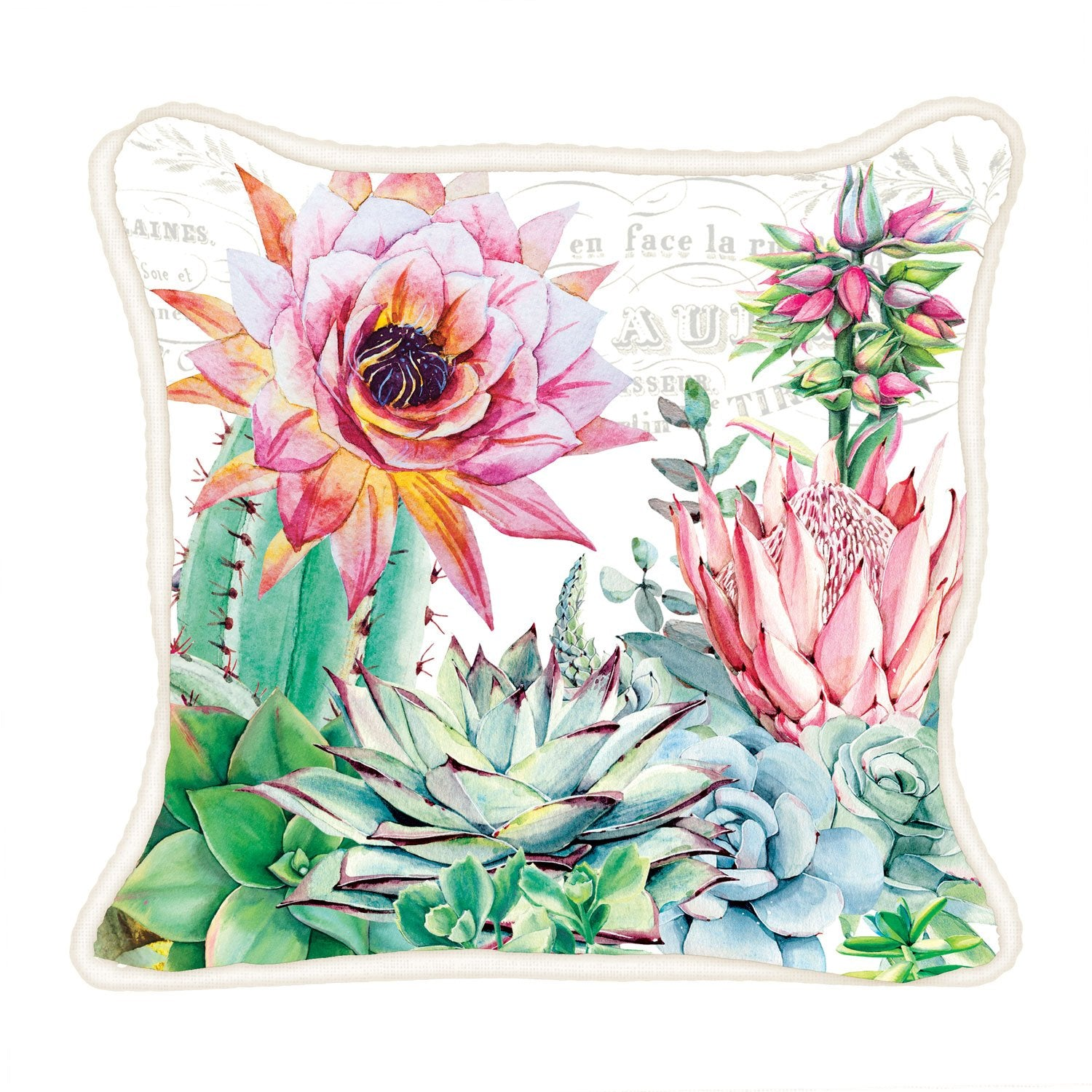 Pink Cactus Square Pillow