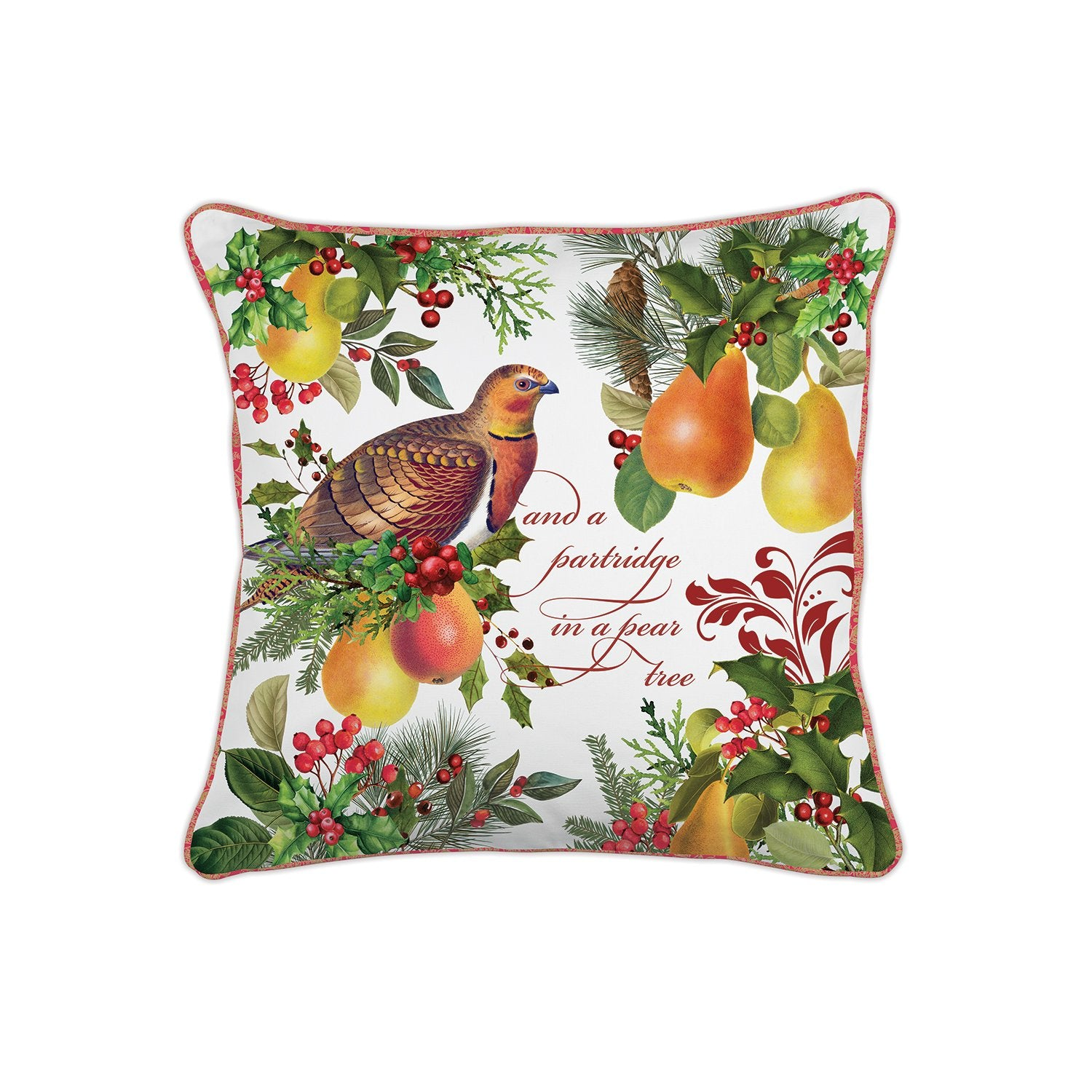 In a Pear Tree Square Pillow