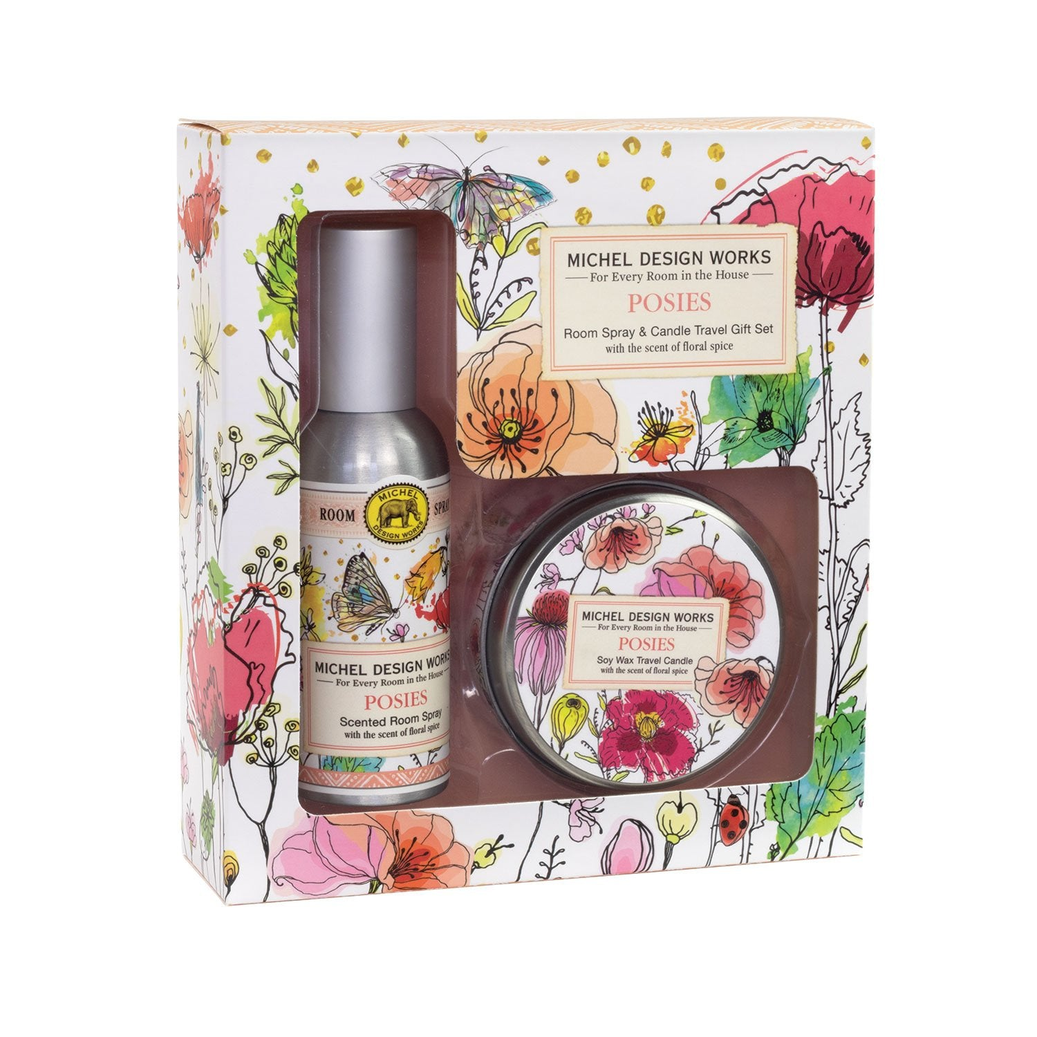 Posies Room Spray and Candle Travel Gift Set