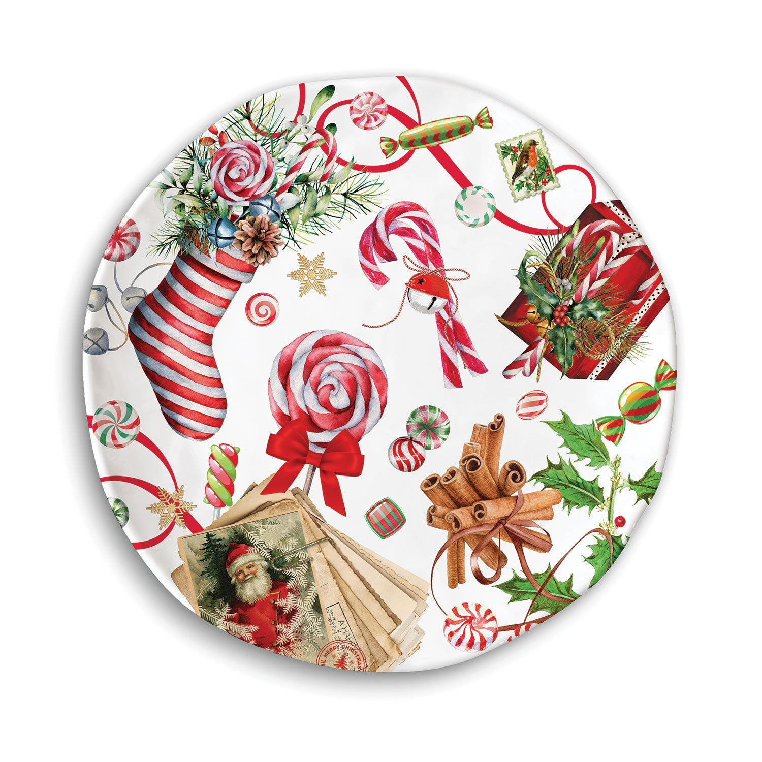 Peppermint Melamine Cookie Plate