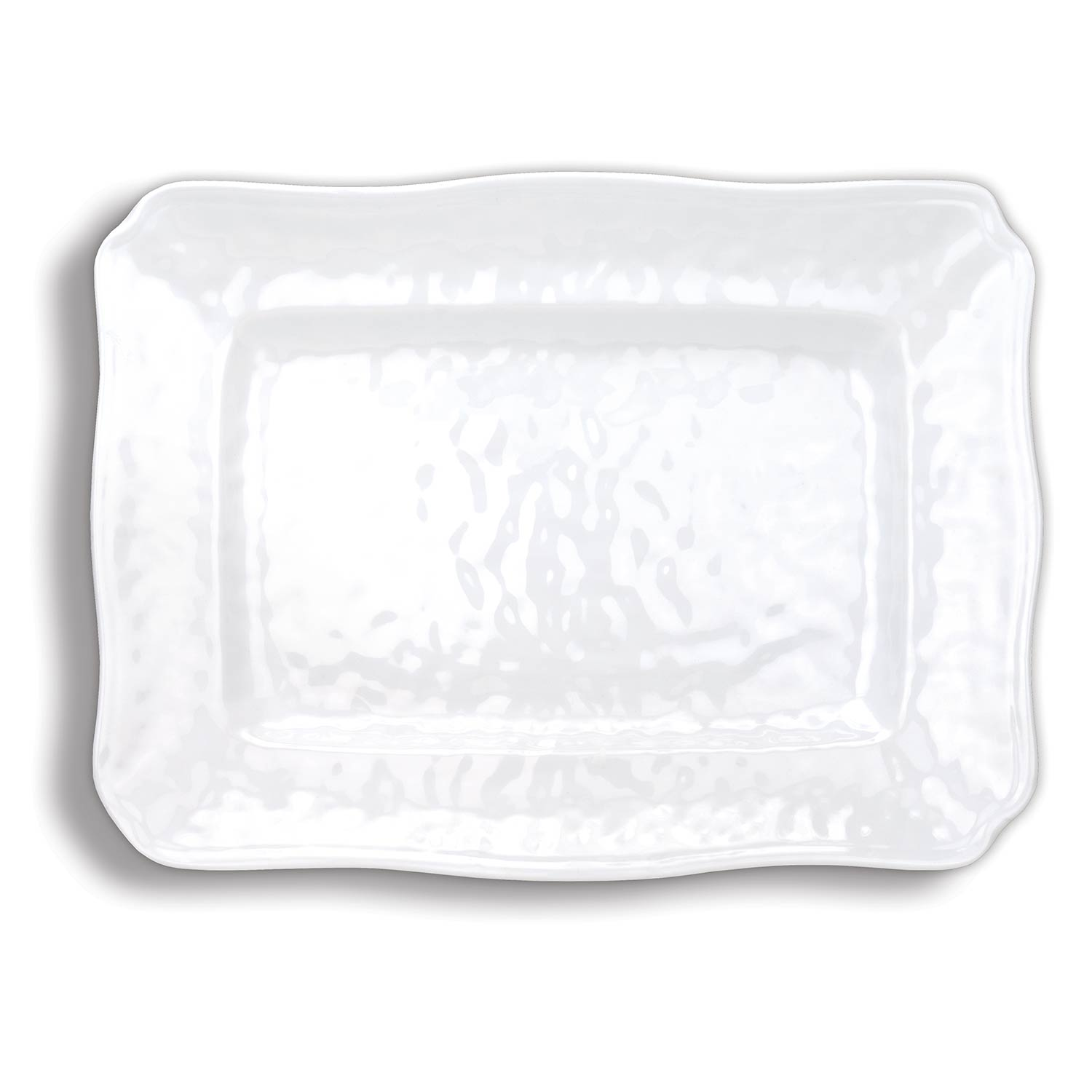 White on White Large Melamine Platter