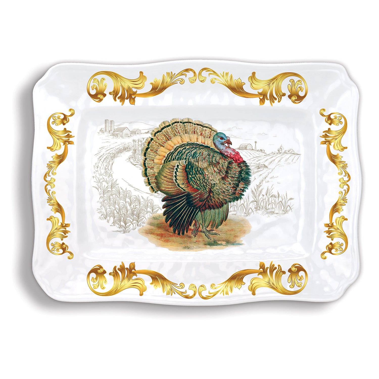 Fall Harvest Turkey Melamine Serveware Large Platter