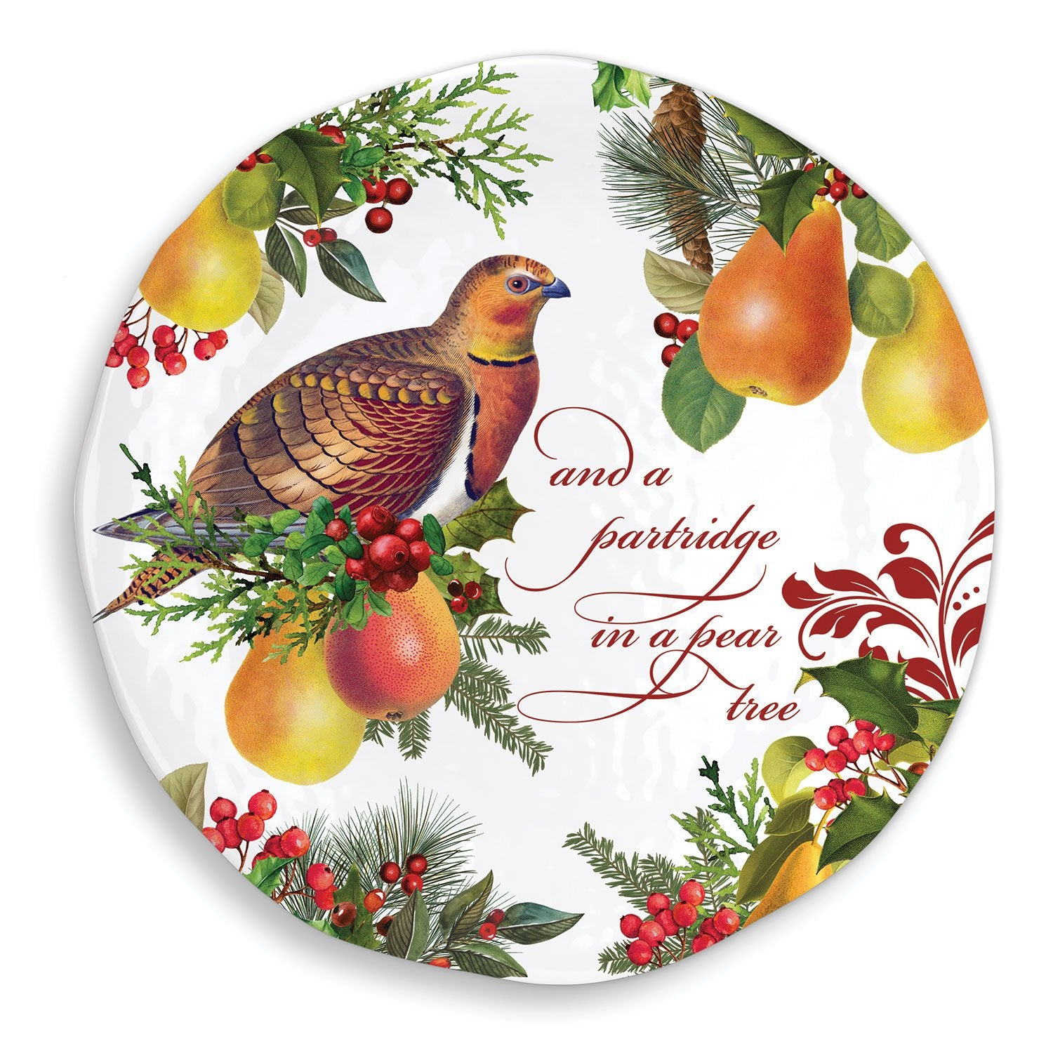 In a Pear Tree Melamine Serveware Large Round Platter