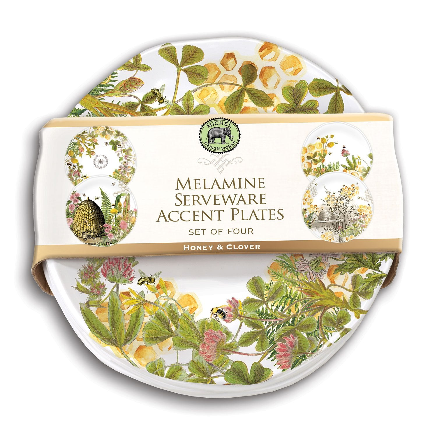 Honey & Clover Melamine Serveware Accent Plate Set
