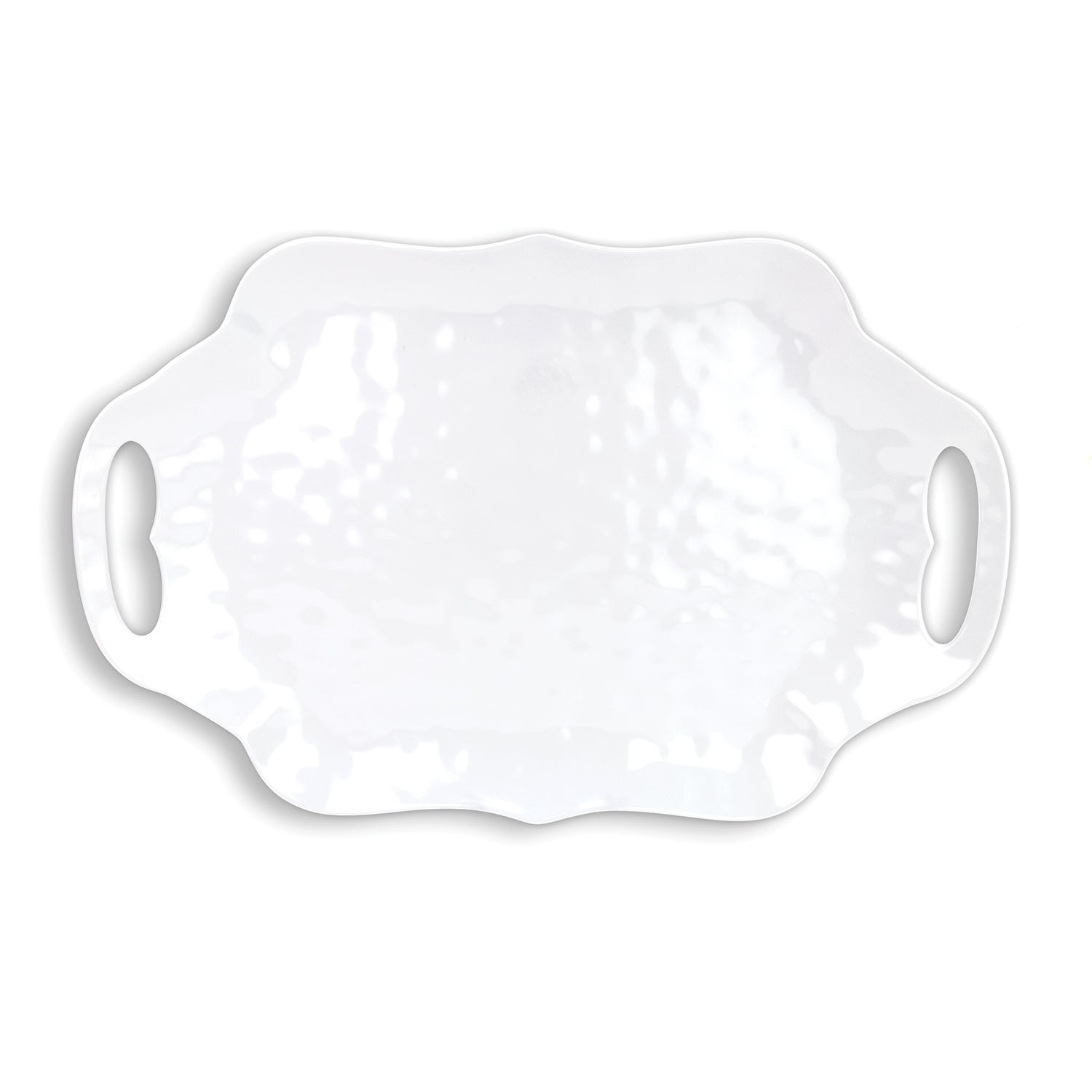 White on White Melamine Serveware Serving Tray