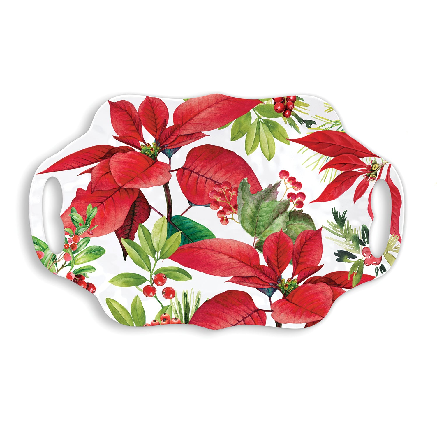 Poinsettia Melamine Serveware Serving Tray