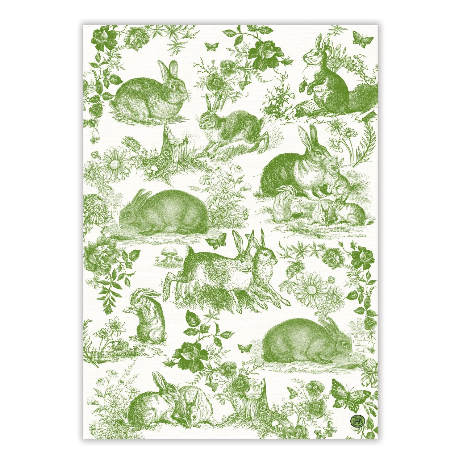 Bunny Toile Kitchen Towel