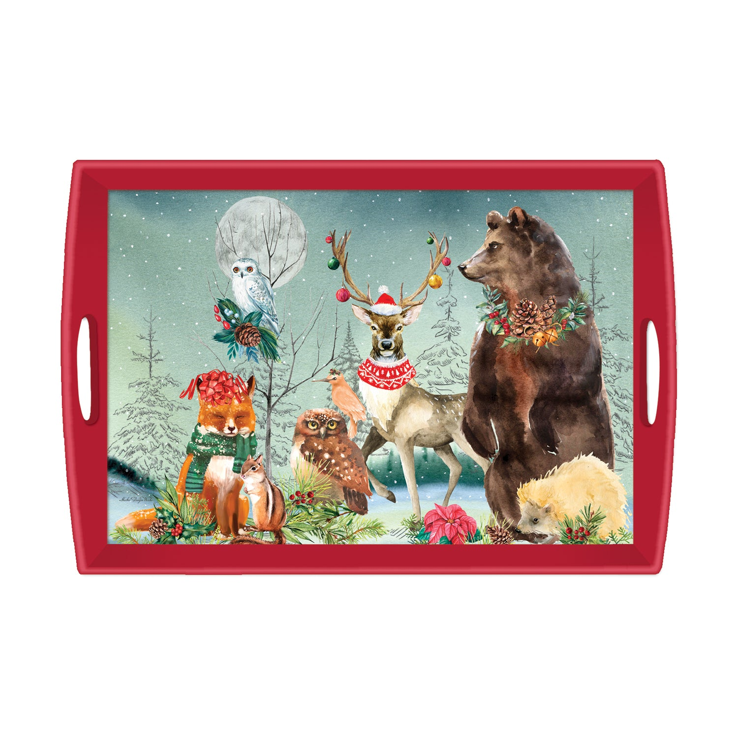 Christmas Party Decoupage Wooden Tray