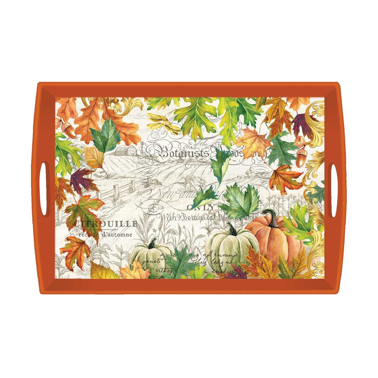 Fall Harvest Decoupage Wooden Tray