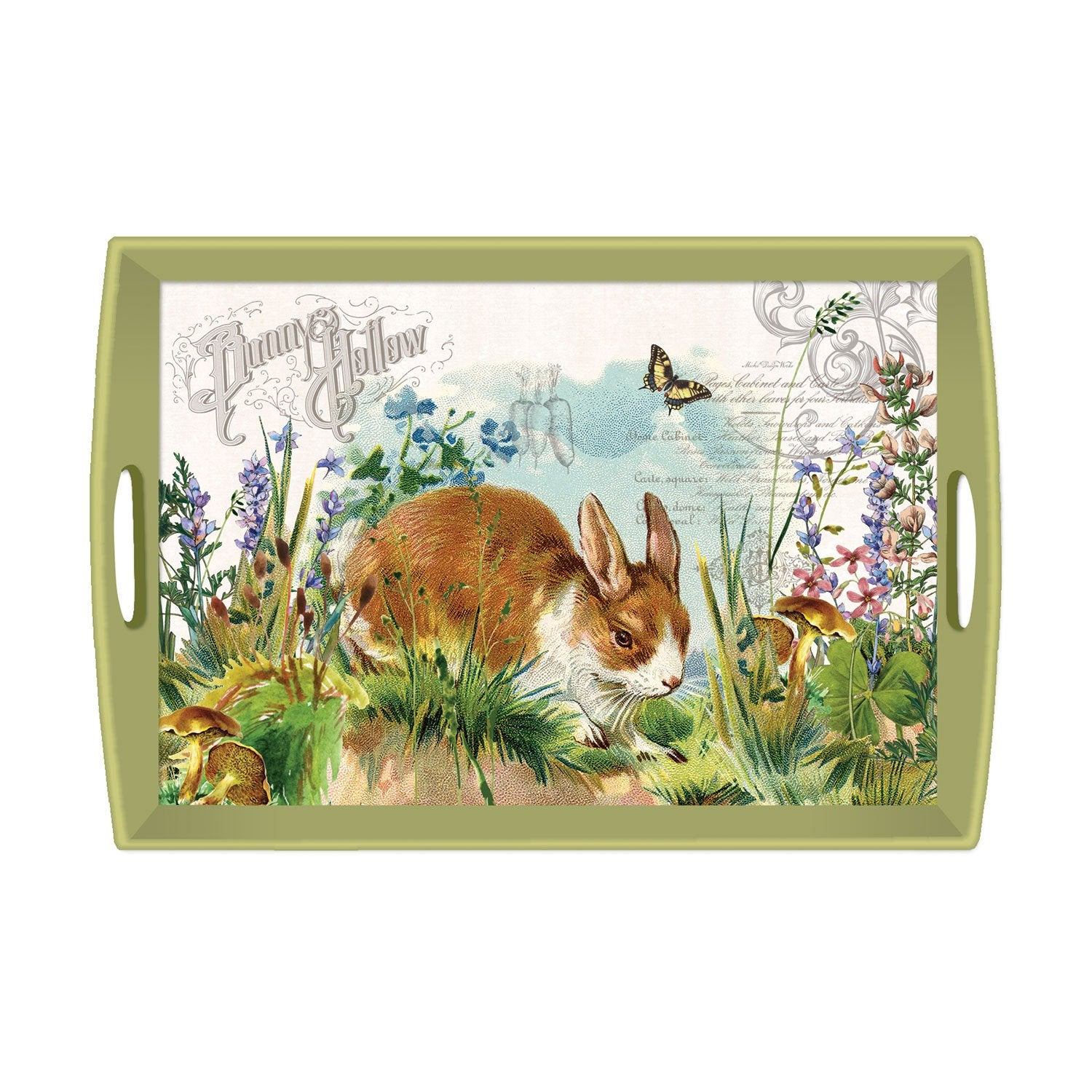 Bunny Hollow Decoupage Large Wooden Tray