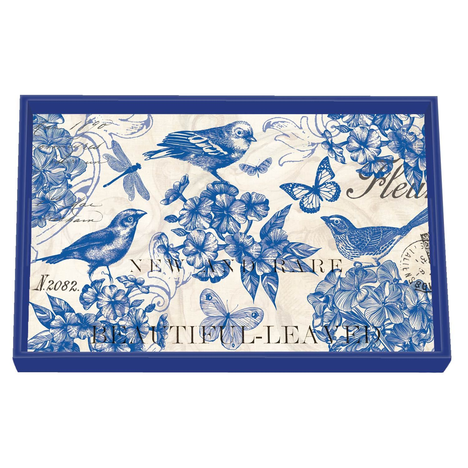 Indigo Cotton Decoupage Wooden Vanity Tray