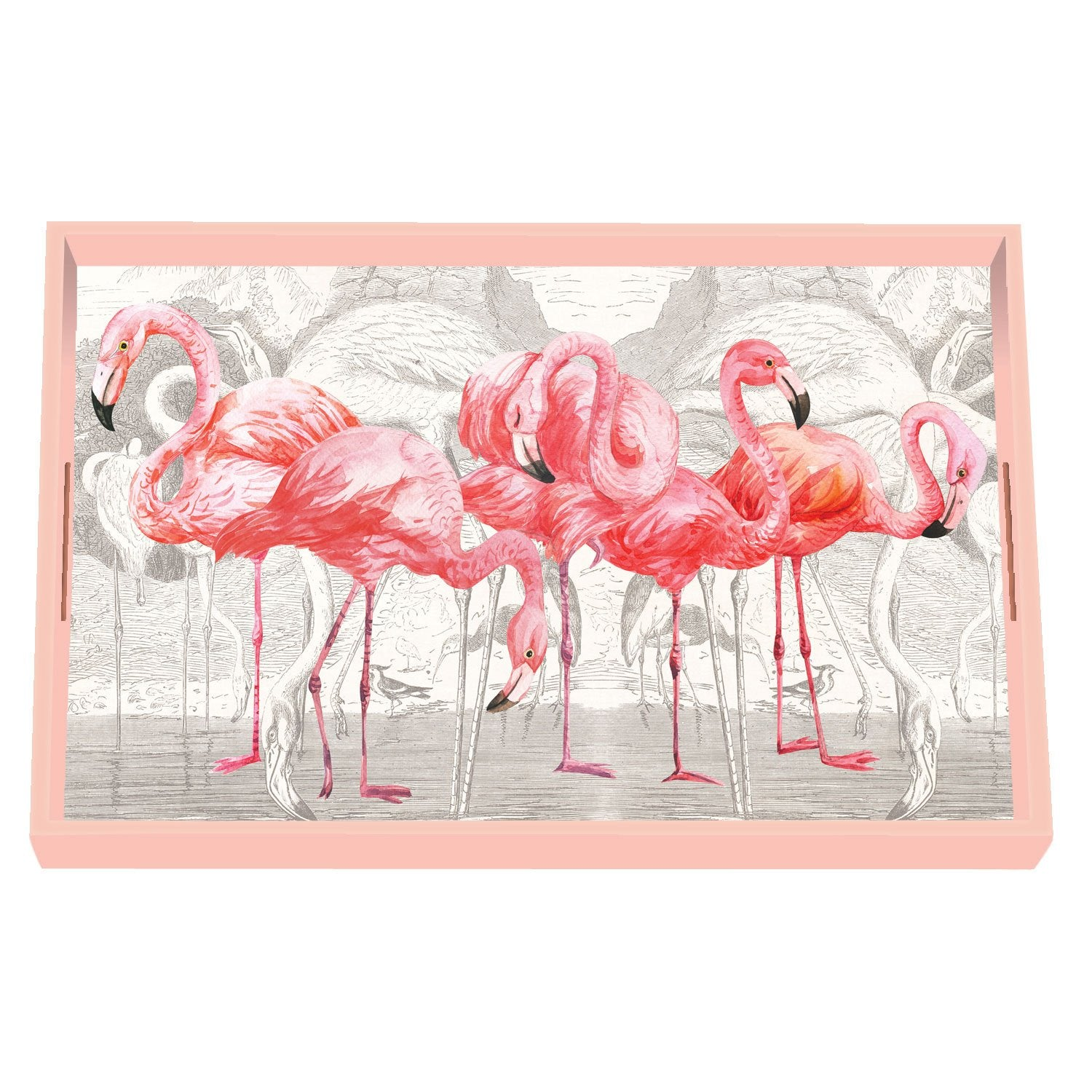 Flamingo Decoupage Wooden Vanity Tray