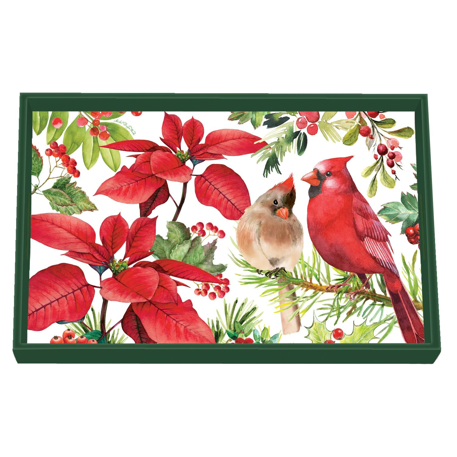 Poinsettia Decoupage Wooden Vanity Tray