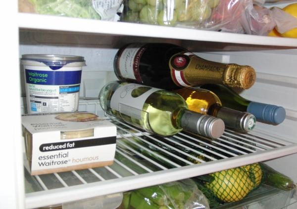 Wine rack in fridge chilling