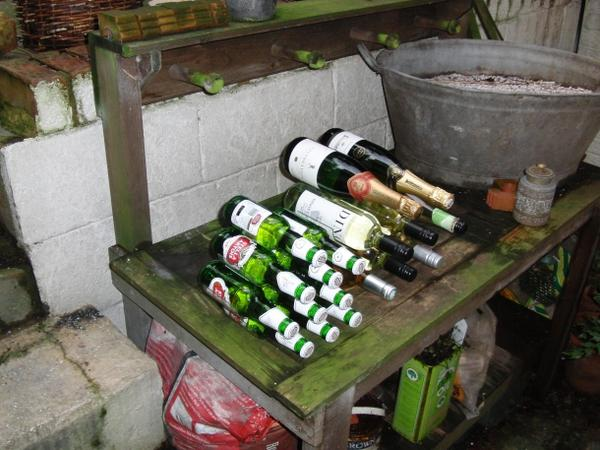 Wine rack in the back yard