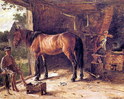 The Blacksmith Shop by Hugh Newell - Hand Painted Oil Painting
