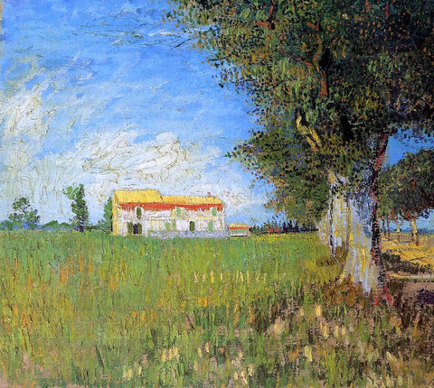 Farmhouse in a Wheat Field by Vincent Van Gogh - Hand Painted Oil Painting