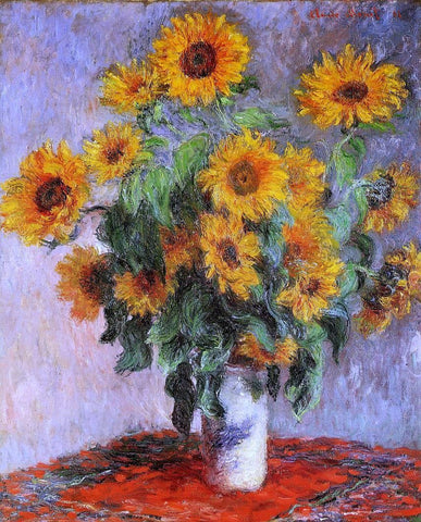 A Bouquet of Sunflowers by Claude Monet - Hand Painted Oil Painting