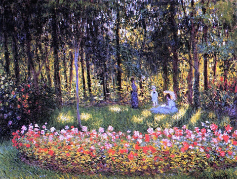 The Artist's Family in the Garden by Claude Oscar Monet - Hand Painted Oil Painting