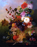 Poppies Peonies Roses and other Flowers with Grapes on a Marble Ledge by Jan Van Der Waarden - Hand Painted Oil Painting