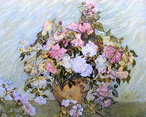 Still Life: Vase with Roses by Vincent Van Gogh - Hand Painted Oil Painting